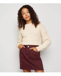 New Look Red Girls Burgundy Denim Skirt