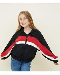 New Look Girls Black Colour Block Windbreaker Jacket