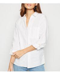 New Look White Linen Blend Overhead Shirt