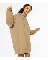 New Look Natural Camel Jersey Hoodie Dress