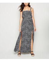 New Look Black Zebra Print Beach Maxi Dress