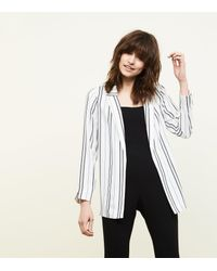 New Look - White Stripe Crepe Blazer - Lyst