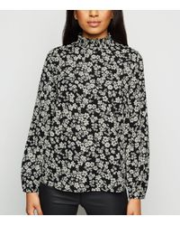 New Look Petite Black Floral Shirred Neck Blouse