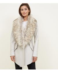 New Look Natural Stone Waterfall Leather Faux Fur Collar Jacket