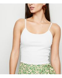 New Look White Shirred Frill Trim Cami