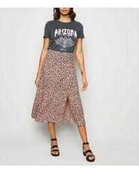 New Look Pink Spot Side Split Midi Skirt