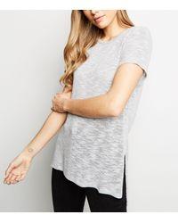 New Look Gray Tall Pale Grey Fine Knit Side Split T-shirt