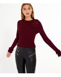 New Look Red Burgundy Ribbed Knit Bow Shoulder Jumper
