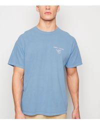 New Look Blue Short Sleeve Slogan T-shirt for men