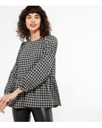 New Look Black Check Textured Peplum Top