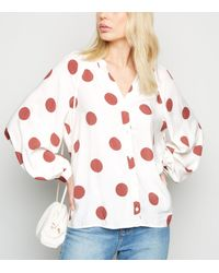 New Look White Spot V Neck Shirt