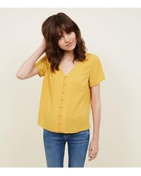 New Look Yellow V-neck Button Front Blouse
