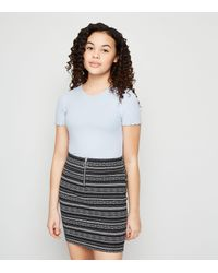 New Look Girls Black Aztec Ring Pull Zip Mini Skirt