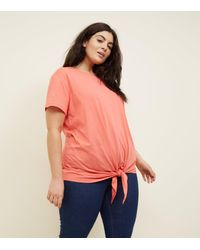 New Look Multicolor Curves Coral Tie Front T-shirt