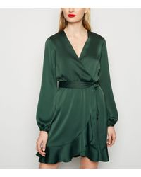 New Look Dark Green Satin Ruffle Wrap Dress