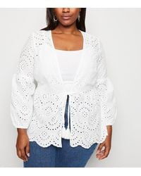 New Look Curves White Broderie Kimono
