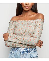 New Look Green Floral Ribbed Frill Trim Bardot Top