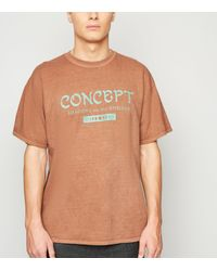 New Look Brown Rust Concept Slogan Oversized T-shirt for men