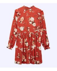 New Look Red Floral Frill Neck Smock Dress