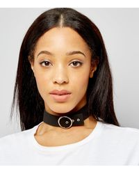New Look - Black Suede Belt Buckle Choker - Lyst
