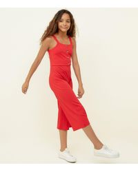 New Look Girls Red Ribbed Button Front Jumpsuit