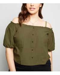New Look Green Curves Khaki Stripe Cold Shoulder Top
