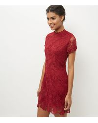 93fe714841 AX Paris Red High Neck Lace Bodycon Dress in Red - Lyst