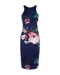AX Paris Blue Navy Floral Print Midi Dress