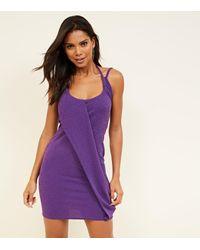 New Look Purple Glitter Drape Bodycon Dress