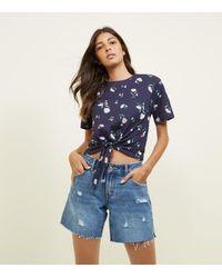New Look Blue Navy Daisy Print Tie Front T-shirt