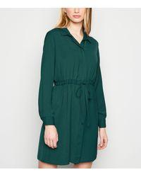 New Look Dark Green Drawstring Waist Shirt Dress