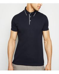 New Look Blue Navy Contrast Collar Polo Shirt for men