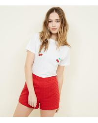 New Look Red Broderie Shorts