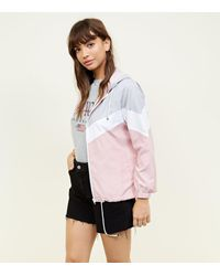 New Look Pink Chevron Colour Block Windbreaker Jacket