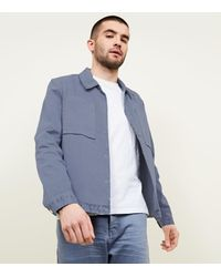 New Look Bright Blue Popper Front Shacket for men