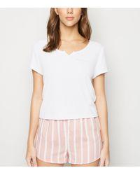 New Look White Stripe Slogan Shorts Pyjama Set