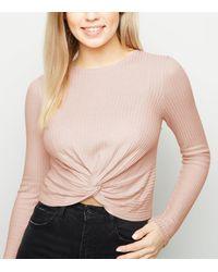 New Look Pale Pink Twist Front Long Sleeve Crop Top
