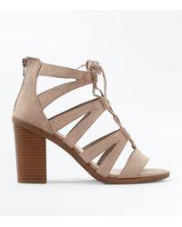 New Look Gray Wide Fit Grey Suedette Wood Heel Ghillie Sandals