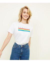 New Look - Tall White Rainbow Stripe Bonjour Slogan T-shirt - Lyst