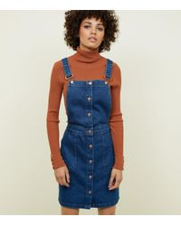 New Look Tall Blue Denim Though Front Pinafore
