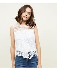 New Look White Lace Sleeveless Top