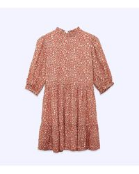 New Look Orange Floral Frill Tiered Smock Dress