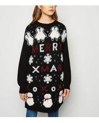 New Look Black Long Slogan Christmas Jumper