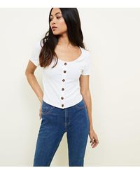 New Look Petite White Ribbed Button Front T-shirt