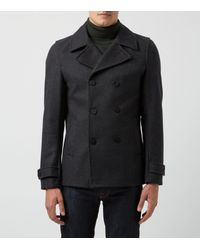 New Look Gray Dark Grey Wool Mix Double Breasted Peacoat for men