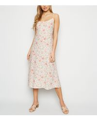 New Look White Floral Tie Front Midi Dress