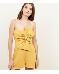 New Look Yellow Bow Front Strapless Playsuit