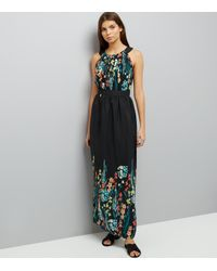 Apricot - Black Floral Embroidered Maxi Dress - Lyst