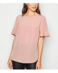 New Look Pale Pink Frill Sleeve T-shirt