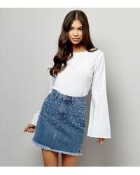 New Look Blue Pearl Embellished Denim Skirt